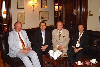 Moray and Hugh at the Savile Club with Michael Bloch (right), associate producer, and Michael Strassen (second from left), audio consultant.