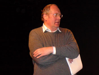 Hugh Massingberd directing his play at the Jermyn Street Theatre in January 2003.