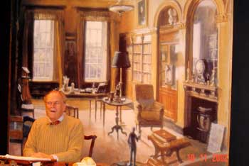 Moray Watson as the ageing JLM in Act 2, set in his Bath library. (Backdrops by Julian Barrow.)